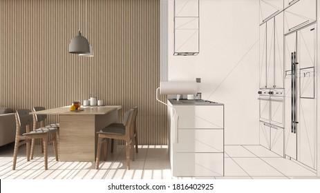 Malermalerei Inneneinrichtung Entwurf Skizze Hintergrund, während der Raum wird real zeigt moderne Küche. Vor und nach dem Konzept, Architekt Designer kreative Arbeit fließen, 3D-Illustration