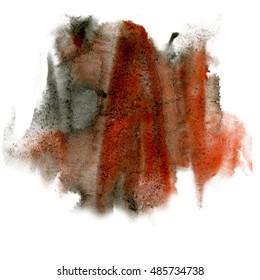 paint splash brown black color ink watercolor isolated stroke splatter watercolour aquarel brush art