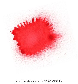 Paint splashes on a white background. Acrylic paint from a barrel. Drops and red ink drips