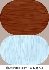 Paint Texture Stacked Ovals in Brown and Blue