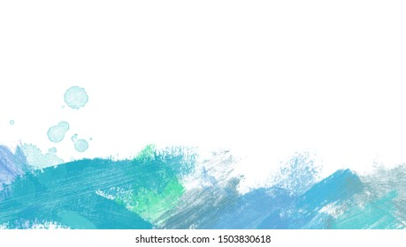 Paint Watercolor border isolated on white, artistic blue background