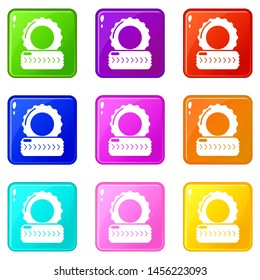 Paintball field tire barricade icons set 9 color collection isolated on white for any design