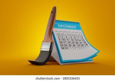 Paintbrush with calendar on orange background. 3d illustration