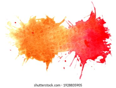 Paintbrush dipped orange and red color flick into white paper, dots emerge saw the rough texture of the paper and isolated on white background.
