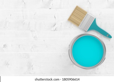 Paintbrush with silver paint bucket with cyan paint on white wooden floor background, home renovation concept flat lay top view from above with copy space - 3D illustration