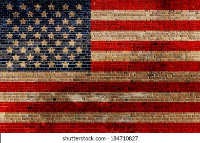 Painted American Flag on Old Brick Wall