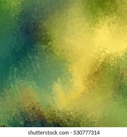 painted background in gold blue green and brown with messy sponged grunge texture