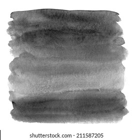Painted Black Ombre Watercolor Square Background.
