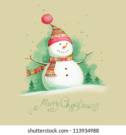 Painted Christmas background with snowman