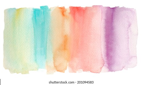 Painted Colorful Rainbow Watercolor Background.