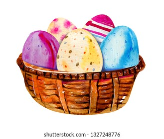 Painted Easter eggs in a wooden basket. Hand drawn watercolor illustration set isolated on white background