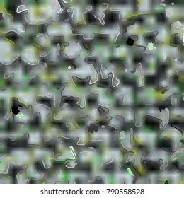 Painted effect with green, white, yellow and black - abstract textured background to use for summer, spring, earth and ground