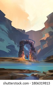painted fantastic landscape with a traveler, ruins and mountains