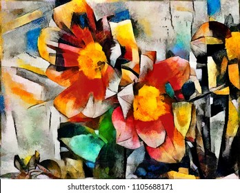 Painted flower. Abstraction in the modern style of cubism. The painting is executed in oil on canvas with elements of pastel painting.