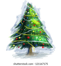 Painted Green Christmas Tree Isolated on White Background