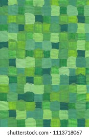 Painted green squares with acrylic paint.