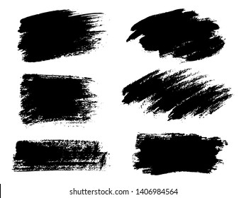 Painted grunge stripes set. Black labels, background, paint text