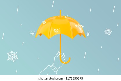 d923936d6aa3d A painted hand holds an umbrella in the rain. Yellow umbrella on pastel  blue background