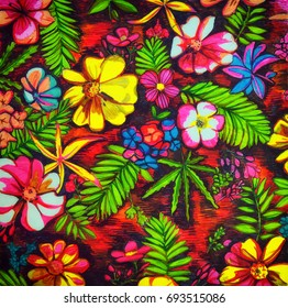Painted illustration of flowers and leaves pattern