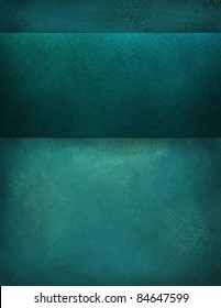 painted illustration of teal blue background with large blank matching stripe  has copy space for your own text, title, or image, has vintage grunge texture and soft light
