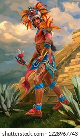 Painted image of an american indian priest with tattoos and feathers that goes against the background of the pyramid and the cloudy sky
