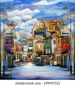 Painted image of Little town.