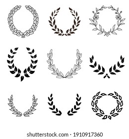 painted laurel wreath black and white style. Set of 9.