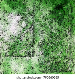 Painted lawn effect with columns for your own text. Green, white, and black abstract textured background to use for summer, spring, grass and two categories