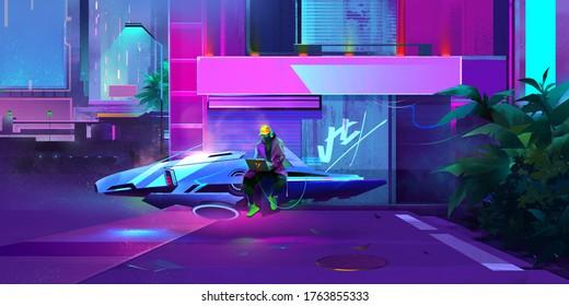 painted night vibrant fantastic industrial landscape. Cyberpunk.