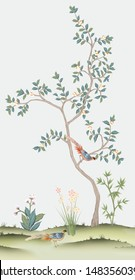 Painted peach tree with birds in the style of chinoiserie.