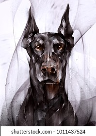 painted portrait of an animal dog doberman in front