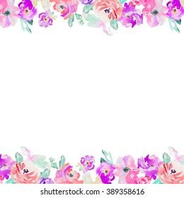 Painted Purple Watercolor Flower Background
