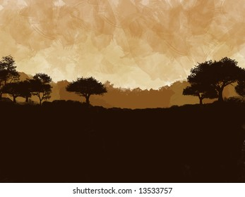 painted scene of an african plain and mountains