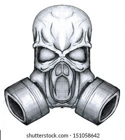painted skull in a respirator