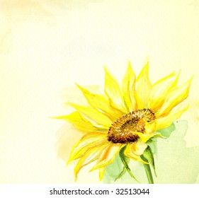 Painted sunflower watercolor background