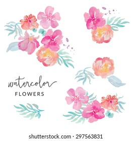 Painted Tropical Watercolor Flower Clip Art Bouquets on Isolated White Background