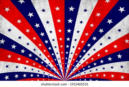 Painted vintage background for a card with sunbeams and colored stars. Rays and stars. Red, white, blue. America. Patriotic background.