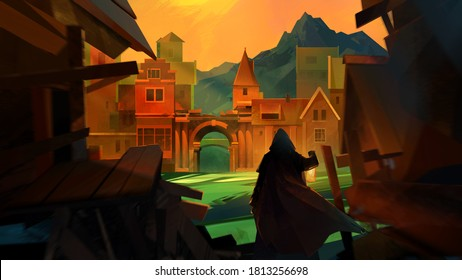 painted vivid medieval landscape with traveler city and mountains