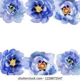 Painted Watercolor Art Illustration Floral Arrangement Bouquet Peony Cobalt Blue. Card, background, illustration for your design.