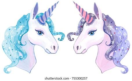 painted watercolor Christmas unicorn