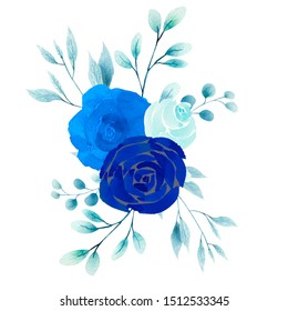 Painted watercolor composition of flowers in blue colors. Element for design. Greeting card. Valentine's Day, Mother's Day, Wedding, Birthday