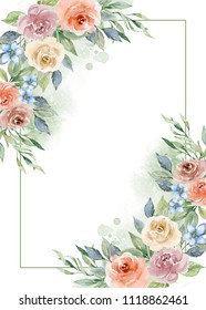Painted watercolor composition of flowers. Frame, border, background. Greeting card, poster, banner with space for text