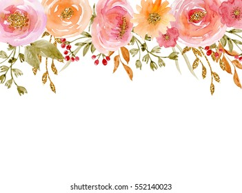 Painted watercolor composition of flowers with gold sparkle. Frame, border, background. Greeting card. Valentine's Day, Mother's Day, wedding, birthday