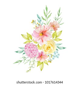Painted watercolor composition of flowers in pastel colors. Element for design. Greeting card. Valentine's Day, Mother's Day, Wedding, Birthday