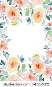 Painted watercolor composition of flowers in pastel colors. Frame border wreath on white background. Greeting card. Valentine's Day, Mother's Day, wedding, birthday