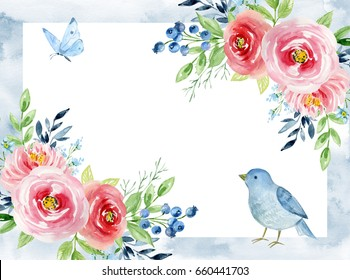 Painted watercolor composition of flowers. Roses, blueberries, bird and butterfly. Frame, border, background. Greeting card. Valentine's Day, Mother's Day, wedding, birthday