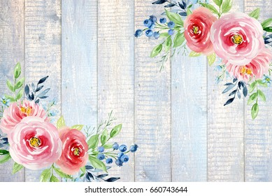 Painted watercolor composition of flowers with roses and blueberries on a wooden background. Frame, border, background. Greeting card. Valentine's Day, Mother's Day, wedding, birthday
