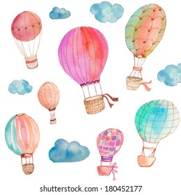 Painted Watercolor Hot Air Balloons With Watercolor Clouds