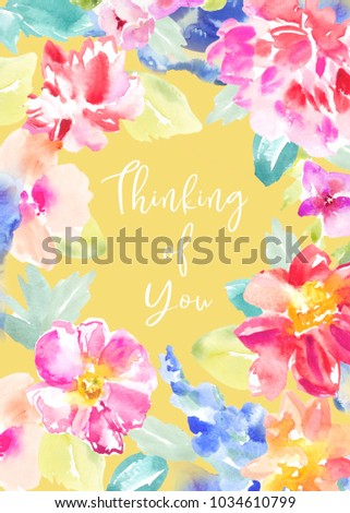 painted watercolour flower printable sympathy card stock