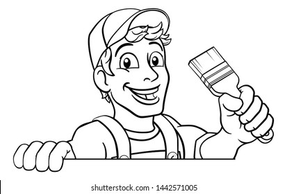 A painter decorator construction handyman cartoon man holding a paintbrush brush and peeking over a sign